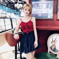 夏装2018新款女韩版修身显瘦针织荷叶边小吊带+泡泡面料个性短裙 均码