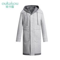 毛呢大衣男装 冬季男士修身外套男灰色韩版加长款毛呢大衣男