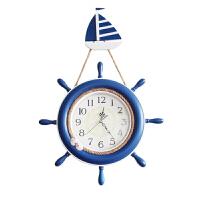 地中海挂钟表客厅创意船舵挂钟儿童房个性钟表卧室静音时钟 20英寸