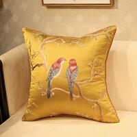 ???新中式抱枕刺绣花鸟古典红木沙发靠垫套床头软包办公室腰靠背含芯