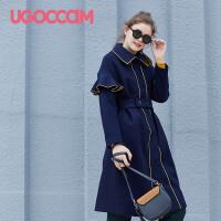 UGOCCAM2018新款韩版一字肩连衣裙女夏露肩短袖上衣