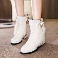【活动价:138】儿童靴子女童2018新款冬季牛皮兔毛短靴公主白色低筒加绒保暖童靴