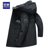罗蒙男士中长款夹克2020春季新款百搭外套中青年时尚休闲连帽风衣