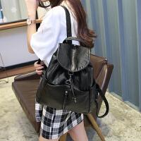 时尚软皮黑色女士双肩包 女 潮流休闲韩版学院水洗皮女生两用背包