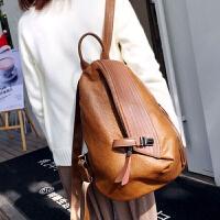 软皮双肩包女韩版新款时尚大容休闲背包旅行包盗学院风