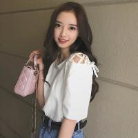 夏季韩版新款肩带露肩上衣气质百搭宽松显瘦短袖T恤学生女装