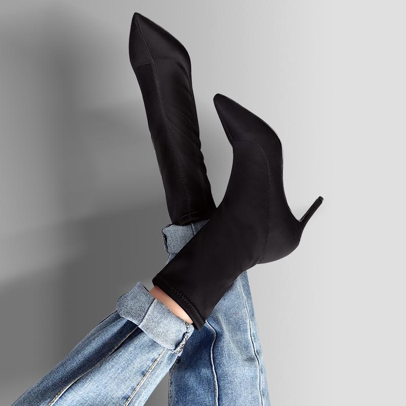 小短靴女春秋2018新款高跟弹力袜子靴细跟尖头踝靴瘦瘦靴中筒靴