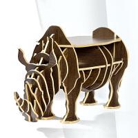 幸阁家居 犀牛边几 北欧ins亲子创意复古风 动物置物架玄关桌 木制摆件装饰书架
