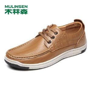 木林森男鞋(MULINSEN)  2018年春季新款户外休闲鞋运动板鞋日常休闲驾车鞋皮鞋87051401