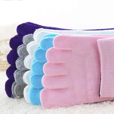 3双装浪莎五指袜女短袜全棉女士防臭吸汗脚趾袜子男秋冬款纯棉中筒袜子