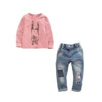 女童套装2018春季新款中童小童装女宝宝秋装儿童牛仔两件套欧美潮