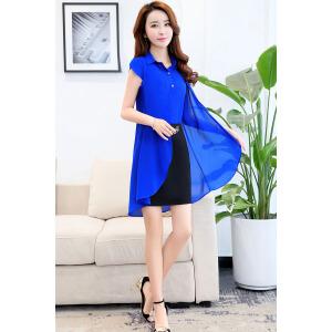 衬衫式假两件包臀一步裙2018夏季新款中长款短袖女士连衣裙