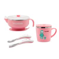 儿童宝宝不锈钢保温辅食碗 吸盘碗勺子家用水杯餐具套装