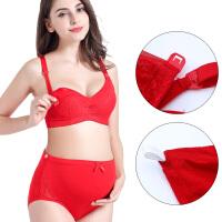 孕妇内衣套装前开扣蕾丝哺乳文胸怀孕期内裤软钢圈