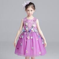 女童公主裙夏季新款儿童紫色演出服花童蓬蓬纱礼服裙 紫色