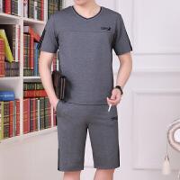 时尚男士运动套装中年人圆领短袖短裤休闲运动服爸爸装跑步服