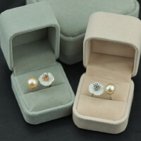 淡水天然珍珠贝壳花创意开口戒指女式欧美饰品