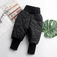 男童加绒裤子冬季宝宝儿童加厚棉裤小童1-3岁婴儿三层夹棉裤 黑色 防风夹棉裤
