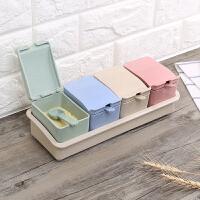 小麦秆盐糖调料盒家用厨房调味盒料组合套装欧式调味罐盐罐作料盒