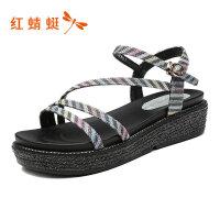 【红蜻蜓限时抢购,1件2折】红蜻蜓女鞋夏季新款平底百搭休闲一字带凉鞋厚底罗马凉鞋