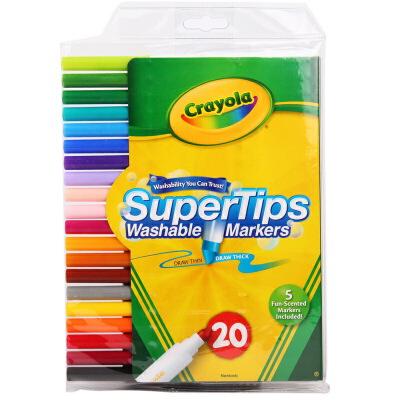 Crayola 绘儿乐 20色可水洗细杆水笔 58-8106【当当自营】美国儿童绘画品牌 内含5支香味水笔 绘本绘画水彩笔