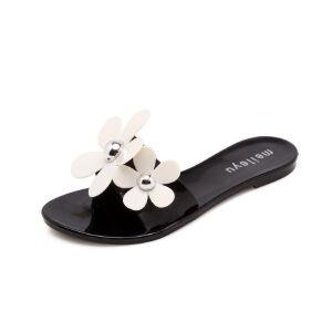 WARORWAR法国YG02-T1699新品甜美塑料平底鞋花朵女士凉拖鞋