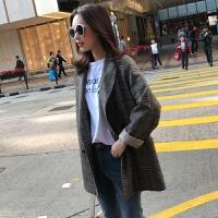 2018春秋季新款韩版英伦风格子小西装女短款复古西服外套韩国 咖啡色