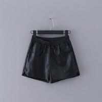 522 女装 冬季新款百搭松紧腰显瘦直筒短裤女式靴裤皮裤