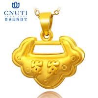 CNUTI粤通国际珠宝 黄金吊坠999足金3D硬金 岁岁平安宝宝锁 约2.65克