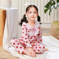 春秋季儿童女童睡衣长袖公主中大童小童小孩子宝宝家居服套装 M码适合 70-85斤左右