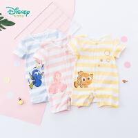 迪士尼Disney童装 男女宝宝卡通印花连体衣夏季新品婴儿衣服条纹短袖192L793