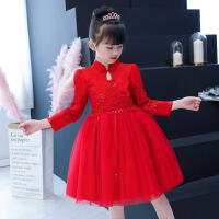 女童旗袍春秋冬儿童唐装红色礼服公主裙中国风连衣裙宝宝拜年服装
