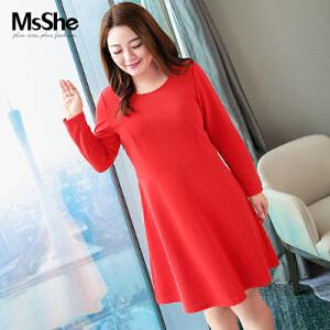 MsShe加肥加大码女装2017新款秋装胖妹妹长袖连衣裙M1630267