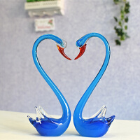 家居生活用品琉璃天鹅新房装饰品动物小摆件水晶玻璃工艺品情人创意结婚礼物