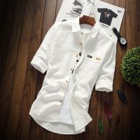 白衬衫男短袖修身2018夏季男士衬衣韩版潮流帅气五分袖中袖寸衫男