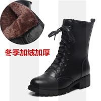 2018秋冬季新款马丁靴女粗跟英伦风真皮机车女靴平底短靴中筒靴子SN2529 34 标准码