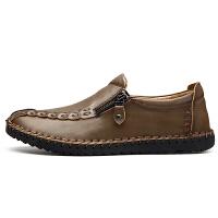 秋冬季男鞋日常手工缝线休闲鞋中老年爸爸鞋软底轻便舒适开车鞋子
