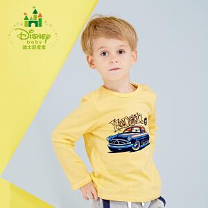 迪士尼Disney童装男童长袖T恤新款春秋装纯棉儿童肩开扣休闲上衣173S951