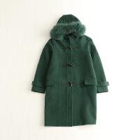 秋冬新款女中长款毛呢外套 连帽真毛条牛角扣日系挺括羊毛大衣