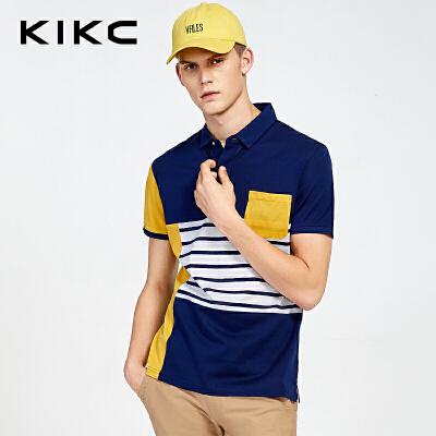 kikc男装 专柜同款新品夏翻领条纹拼接短袖T恤POLO衫