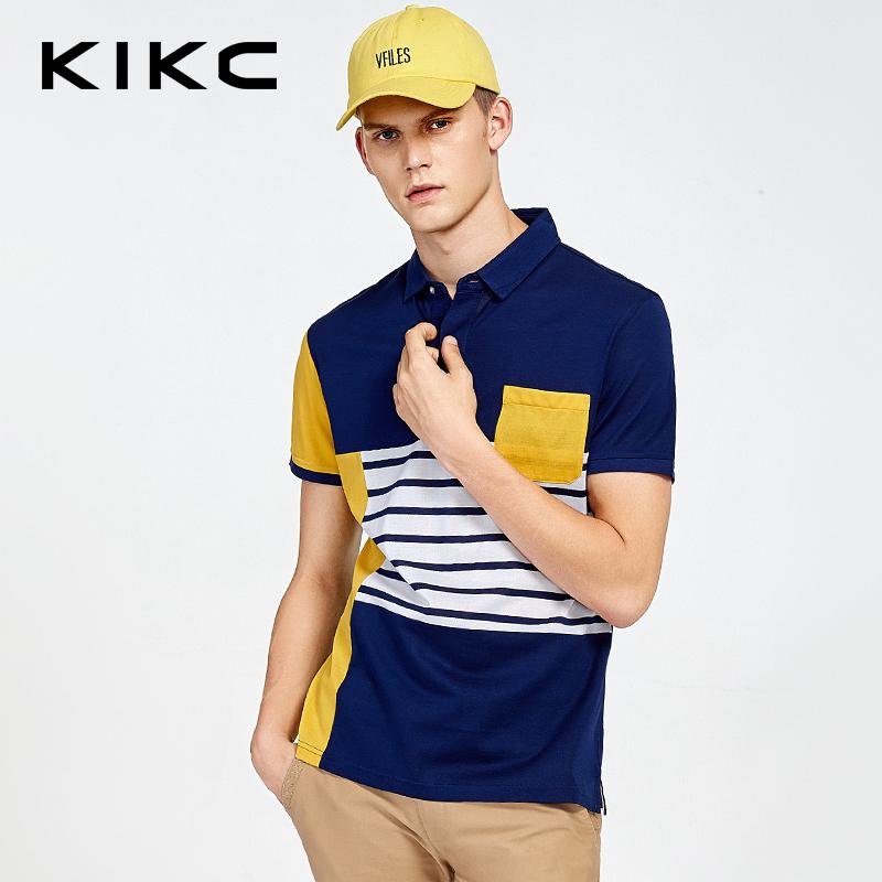 【每满100立减50,领券再减20,仅限8.15-8.18】kikc男装 专柜同款新品夏翻领条纹拼接短袖T恤POLO衫-