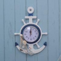 地中海风格家居锚舵手钟航海舵家居壁挂壁饰钟饰儿童房饰品