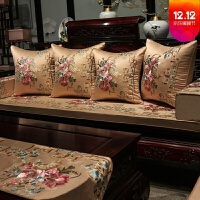 中式实木三人做沙发垫罩巾中式红木沙发坐垫中国风实木家具椅垫坐垫带靠背防滑罗汉床垫定制
