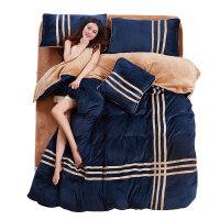 保暖加厚法兰绒四件套冬季珊瑚绒双面法莱绒被套床品1.8m床单床笠