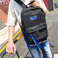 男士双肩包韩版简约高中大学生书包男时尚潮流校园帆布背包电脑包 黑色Z03