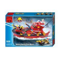 启蒙906塑料拼装积木正品鲁班式拼插益智积木玩具喷水消防艇