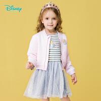 迪士尼Disney童装女童外套2019春季新款连体衣裙套装宝宝网纱罗纹领休闲2件套191T844