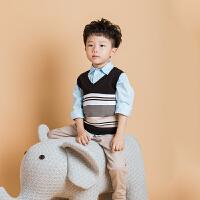 男童背心V领毛衣针织马甲套头2018秋冬中小童儿童纯棉条纹毛线衫