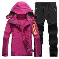 户外冬季冲锋衣男三合一两件套衣裤套装防水登山服