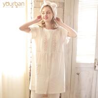 哺乳衣套装 月子服夏季棉纱布大码孕妇睡衣产后喂奶衣薄